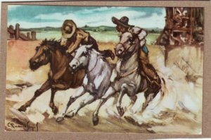 P1344 unused mexico art postcard signed 3 horses riders
