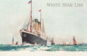 White Star Line Ocean Liner OCEANIC Leaving New York City , 00-10s