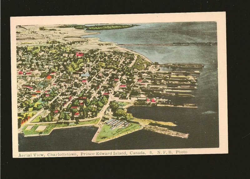 Canada Aerial View Charlottetown PEI NFB Photo Postcard Unposted