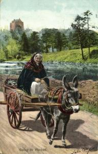 ireland, Going to Market  Donkey Cart, Costumes (1913) Artist Signed John Carey