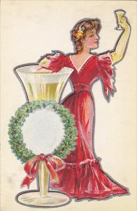 Beautiful Lady With Large Champagne Glass Toasting Embossed