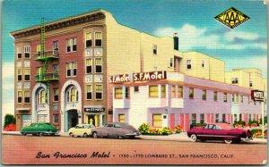1950s San Francisco, CA Postcard SAN FRANCISCO MOTEL 1750 Lombard Street LINEN