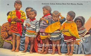 Seminole Indian Babies Fort Myers, Florida, FL, USA Unused