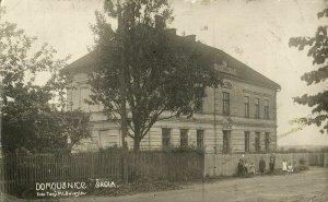 czech, DOMOUSNICE, Mladá Boleslav, Skola School (1931) RPPC Postcard