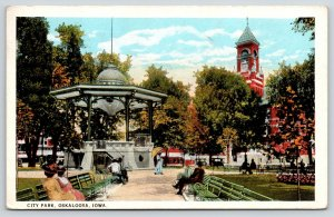 Oskaloosa Iowa~Victorian Ladies on Benches in City Park~Band Stand Gazebo~c1916