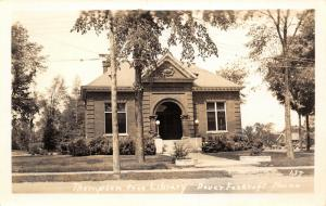 Dover-Foxcroft Maine~Arched Entrance to Beaux Arts Thompson Library~RPPC 1940s