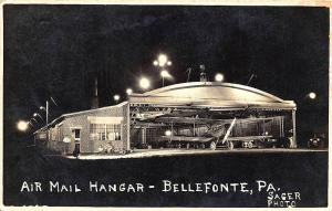 Bellefonte PA Air Mail Hanger Airplane Signed Sager RPPC Postcard