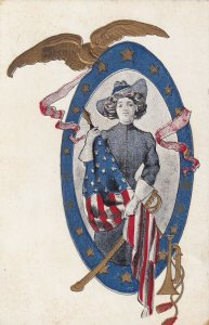 Woman Soldier holding American Flag, Gold, Sword, Trumpet & Eagle