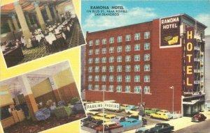 Autos 1950s Romona's Hotel San Francisco California Featuristic Postcard 20-1237