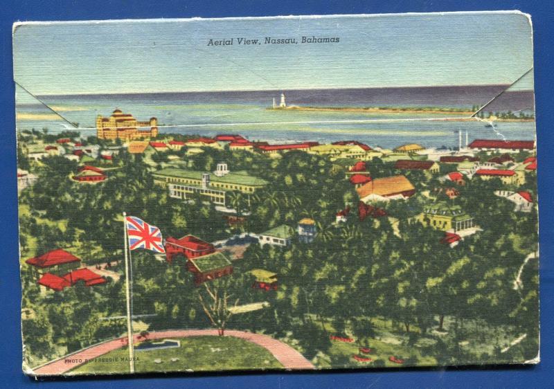 Nassau Bahamas Tea Garden Paradise Beach Lighthouse Diving Boys postcard folder