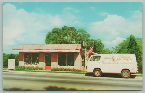 Pensacola Florida~Glass Florist & Gift Shoppe~Delivery Van in Front~1960s