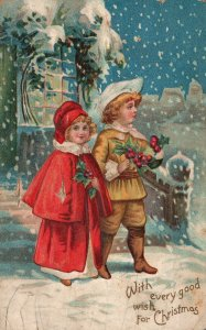 Vintage Postcard 1910s Kids in Snow With Every Good Wish For Christmas Greetings