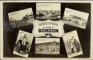 Gordon NE Multi-View w/ Native American Indians c1910 Real Photo Postcard