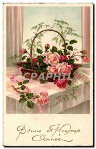 Festivals - Good Anne - Roses - pretty basket of flowers - Old Postcard