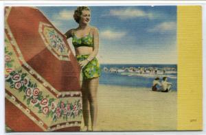 Bathing Beauty Woman Beach Umbrella linen postcard