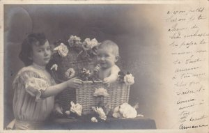 RP: Mother with baby in Wicker Flower Basket, PU-1903