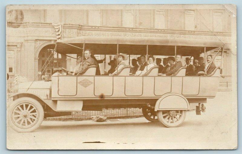 Postcard Washington DC The Gray Line Sight Seeing Bus 1916 RPPC Real Photo AD9