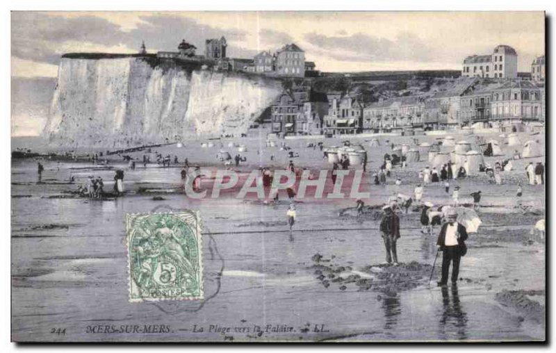 Old Postcard Mers Seas On The Beach to the Cliff