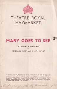 Mary Goes To See Marie Tempest Gladys Hanson Theatre Programme