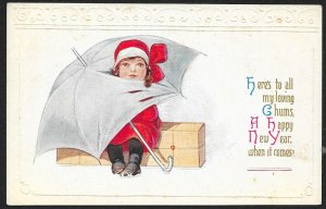 Happy New Year Lady In Red Head Stuck Through Umbrella Unused c1910s