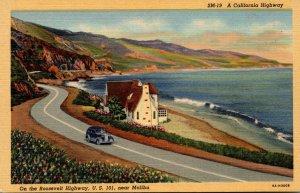 California Scene Along The Rooseveelt Highway U S 101 Near Malibu Curteich
