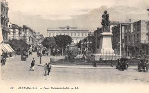 Egypt Alexandria - Place Mohammed-Ali, Statue, Bourse, Exchange, cars carriages