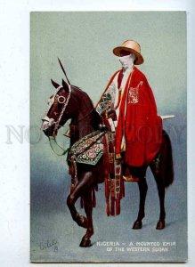 203100 NIGERIA Mounted Emir from Western Sudan Vintage TUCK PC