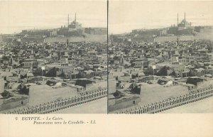 Postcard Stereographic image Egypt Cairo panorama