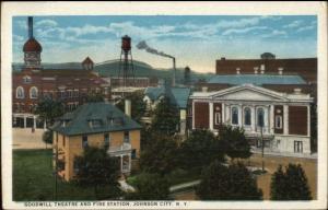 Johnson City NY Goodwill Theatre & Fire Station c1920 Postcard