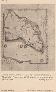 Ireland Irish Map In 140AD From 1400s Antique London Postcard
