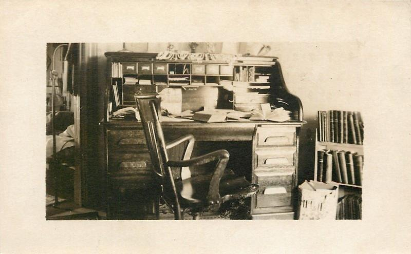 Vintage Cubby Hole Desk~Open Books~Wooden Arm Chair~Real Photo~1910 Postcard