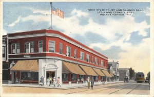 Indiana Harbor IN~137th & Cedar Street~1st State Trust Bank~Merry Christmas~1915