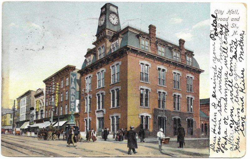 Trenton New Jersey, City Hall. Mailed 1907 - double Postmark #300 Franklin.