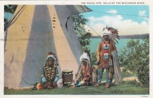 WISCONSIN, PU-1934; The Peace Pipe, Dells Of The Wisconsin River, Native Indians