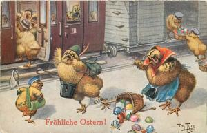 Easter A. THIELE signed humanized anthropomorphic dressed chickens train station