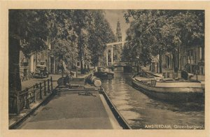Netherlands Amsterdam Groenburgwal canal boat Postcard