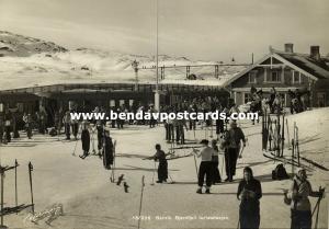 norway norge, NARVIK, Bjørnfjell Turiststasjon, Station Train, Skiing 1950s RPPC