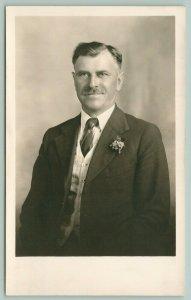 Picto Willimowicz~Grayng Czech? Man w/Boutonniere & Seersucker Vest RPPC c1910