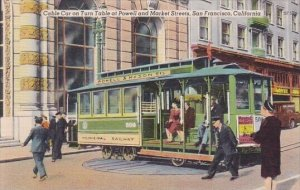 Cable Car On Turn Table At Powell And Market Streets San Francisco California