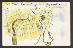 Princeton NJ at 10pm Drunk Fantasy Streetlight Comic Postcard Mailed in 1908