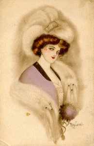 Lady of Fashion with Furs.   Artist: Mary Connell