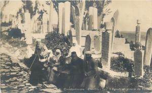 Turkey photo postcard Constantinople Eyoub cemetery ethnics turcs Istanbul