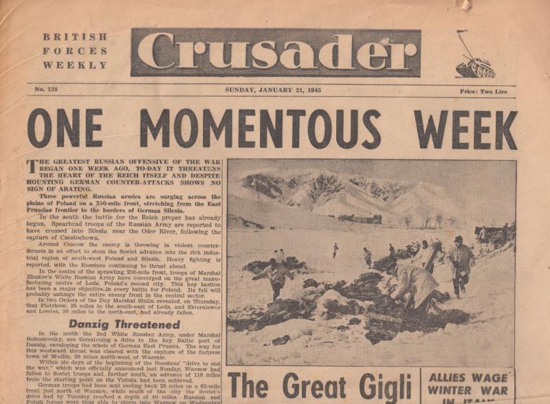 Crusader Jan 1945 Russian Army British Forces Map Original War Newspaper
