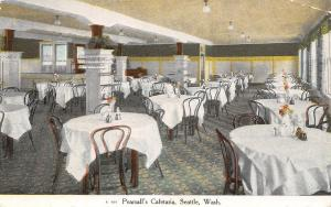 Seattle Washington~Pearsall's Cafeteria~Interior~Advertising Back~1909 Postcard