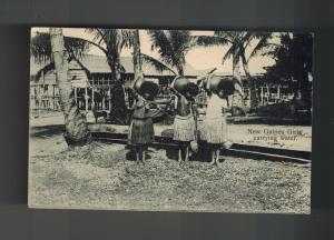 Mint New Guinea BW RPPC Postcard native Women Carrying Water