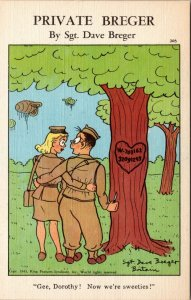 Private Breger: Gee Dorothy MILITARY LOVE ROMANCE VINTAGE POSTCARD
