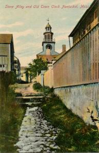 MA - Nantucket. Stone Alley and Old Town Clock