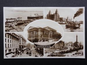 Merseyside LIVERPOOL 5 Image Multiview c1937 Old RP Postcard