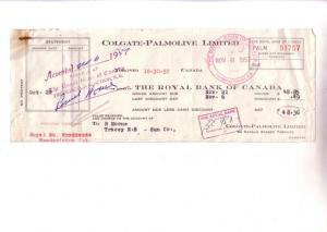 Colgate Palmolive Canada, Royal Bank Cheque 1957