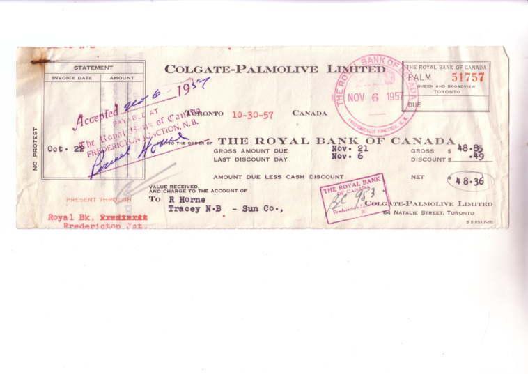Colgate Palmolive Canada, Royal Bank Cheque 1957